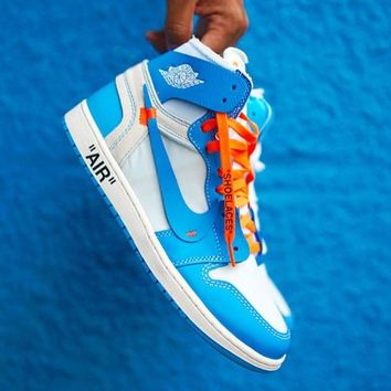NIKE AIR JORDAN 1 X OFF-WHITE AJ1 OW Popular High Top Sport Sneakers Shoes Blue&White