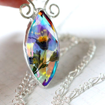 Long Forget Me Not Pendant Necklace, Real Flower Jewelry, Fantasy Art Glass, Dichroic Rainbow Glass Jewelry Handmade, Real Plant Pendant