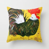 """doodle doo"" rooster Throw Pillow by Jennifer Pennacchio"