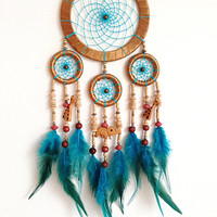 DreamCatcher, Boho Dreamcatcher, Blue, Wall Hanging, Home Decor, Feathers ,Colourful Dreamcatcher, Elephant Girafa ,Gypsy