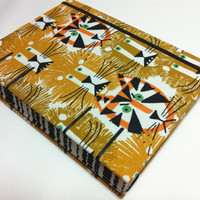 Lions and Tigers Organic Fabric Journal Notebook - Handmade Coptic Stitched