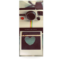 "Cristina Mitchell ""Polaroid Love"" Teal Camera Luxe Rectangle Panel"