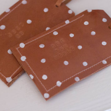 Leather Luggage Tag Polka Dot Personalized Stamped