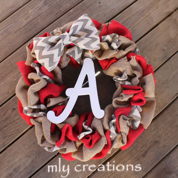 Chevron Wreath, Chevron burlap initial wreath,door wreath, burlap wreath, home decor, christmas gift for her, personalized gift, any color