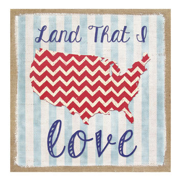 """Land That I Love"" Burlap Wall Art"