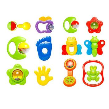 DCCKL72 0-12 Months Baby Toy Baby Music Toy Rattles Develop Baby Intelligence Baby Toys Plastic Hand Shaking Bell Rattle
