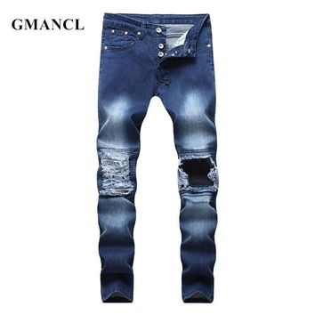 GMANCL Men Streetwear Hip hop Ripped Biker Jeans Vintage Male Casual Motorcycle Skinny Stretch Knee Holes Jogger Denim Pants