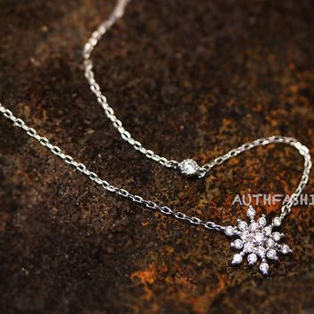 Snowflake Necklace / Earrings / Ring Snow Winter Jewelry Frozen Gift Idea Color Select