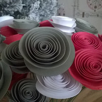Bouquet of 12 Red White & Gray Paper Roses Table Centerpiece rolled paper flowers one dozen Cardstock posies 12 flowers on wire stems Grey