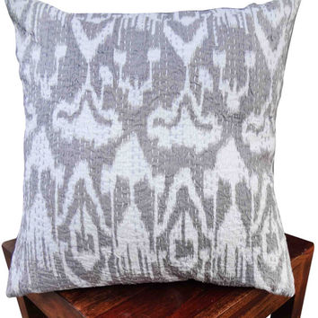 Gray ikat kantha cushion cover , indian cushion, cotton cushion ,handmade cushion ,kantha pillow