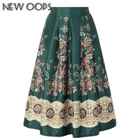 NEW OOPS Autumn Winter Ethnic Floral Print Skirts Women Clothes 2016 High Waist Pleated Skirt Elegant Vintage Midi Saia A1608006