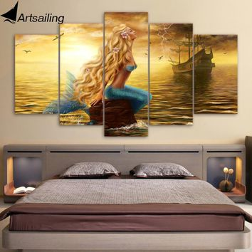 ArtSailing 5 Panel Canvas Art Print Wall Art Boat Ship on Golden Sea Poster Beauty Mermaid Wall pictures for Kids Bedroom Decor