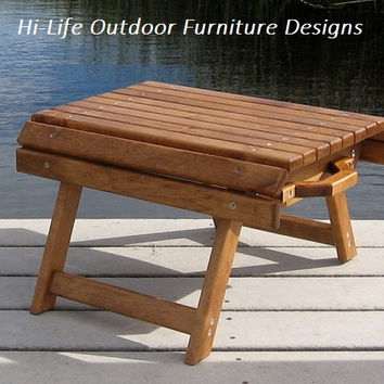 The Nugget Handmade Folding Wood Foot Stool Ottoman Outdoor Furniture Camping Patio Deck Pool