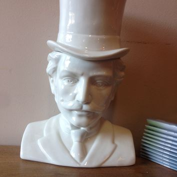 IMM-Living The Socialites Male Victorian Bust Ceramic Canister | Thirteen Vintage
