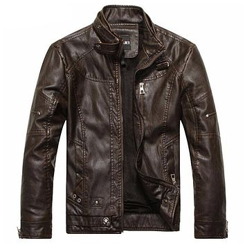 Leather hombre bomber jacket