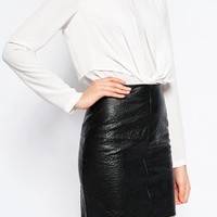 ASOS TALL Mini Skirt in Leather Look