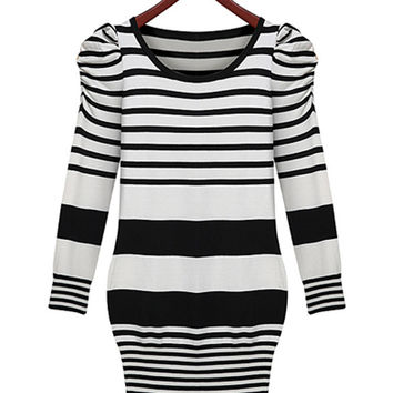 Black and White Striped Bubble Shoulder Long Sleeve Tunic Dress