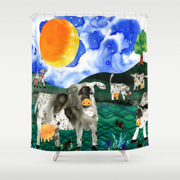 Cow Meadow Shower Curtain by BarbeeAnne