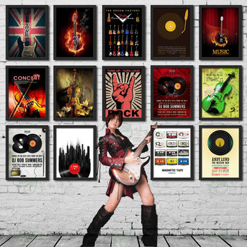 Rustic Music Lover Collection Vinyl Record Rock Fan Theme Vintage Wall Display Retro Pop Art Painting for Cafe Restaurant Bistro DIY Home Decor SOHO Office Retail Store Owners Interior Design Framed Posters Canvas Print