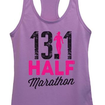 Womens 13.1 Half Marathon Grapahic Design Fitted Tank Top