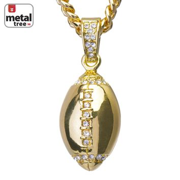 "Jewelry Kay style Men's Hip Hop 14K Gold Football Pendant 24"" Cuban Link Chain Necklace CPB 1120 G"