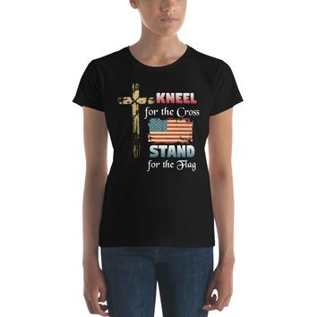 Kneel for the Cross Stand for the Flag Premium Women's T-Shirt