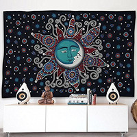 Popular Handicrafts Sun Moon Bohemian Psychedelic Intricate Floral Design Indian Bedspread Magical Thinking Tapestry 54x84 Inches,(140x210cms) Black Turquish