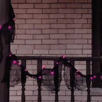 9' Pre-lit Black Gauze Fabric Novelty Halloween Garland - Pink Purple Lights
