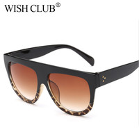 WISHCLUB New Leopard Sunglasses Women Gradient Lens Sun glasses Men Full Frame Shades Ladies Glasses Oversized Unisex oculos