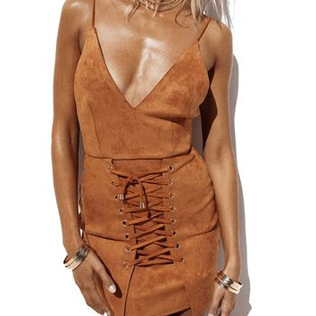 Brown Faux Suede V-neck Lace Up Front Backless Bodycon Mini Dress