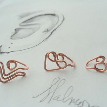 Ear cuff set Custom / Chevron / Infinity / / Heart /Non Pierced - Ear cuff- Tragus jewelry, earrings