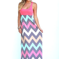 Coral Chevron Printed Maxi Dress