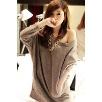 3/4 Sleeve Pockets Shirt Offee Top Women Sweater@XYZ8105