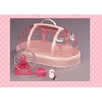IRIS Hamster Cage Carrier With Accessories, Pink