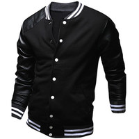 Men's Cool College Baseball Fashion Design Black PU Leather Sleeve Slim Fit Varsity Jacket