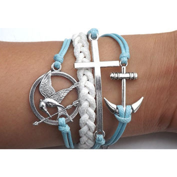 Hunger Games,Cross bracelet,anchor bracelet,Mockingjay pin Bracelet,Mockingjay bracelet,Couples bracelet,Turquoise bracelet,lover bracelet,leather bracelet,hipsters jewelry,braided bracelet