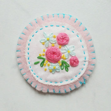 Pretty Floral Hand Embroidery Patch / Badge