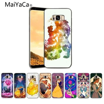 MaiYaCa DIY Painted Beautiful Beauty Beast Rose Princess Phone Accessories Case For Samsung Galaxy S5 S6 S7 S8 S9 Mobile cover