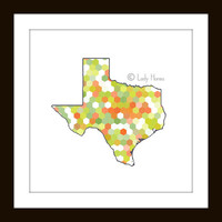 PRINT - State of Texas Map - hexagonal lime green and orange geometric art, USA map poster, home decor wall art, dorm decor