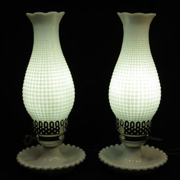 Hobnail Milk Glass Vintage Pair of White Hurricane Lamps Chrome