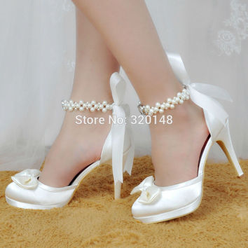Women Shoes White Ivory High Heel Round Toe Platform Ankle Strap Wedding Bridal Shoes Satin Bride Bridesmaids Prom Pumps EP11074