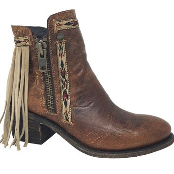 Corral Brown Fringes J Toe Ankle Boots