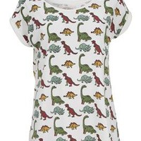 Worn By Women Dinosaur Print Boyfriend Tee - Ecru Multi - Worn By