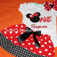 ONE Birthday inspired Minnie with Hairbow Set - Skirt and Tshirt with Hairbow Minnie Mouse Outfit - Polka Dots Minnie Mouse Birthday ONE Set
