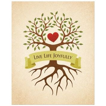 Tree with heart and roots wall art print | Banner with text Live Life Joyfully