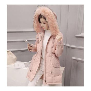Hooded Middle Long Racoon Down Coat Woman Slim Warm   pink