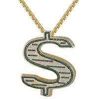 Custom Side Iced Out Green 3D Dollar Sign Pendant Necklace