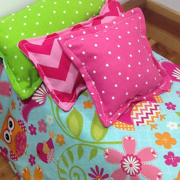 Doll Bedding with owls for 18 inch dolls, light blue, pink chevron, pink polka  dot. 4 piece set with comforter and 3 pillows