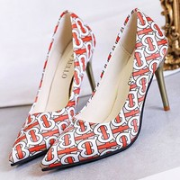 Burberry New fashion more letter print high heels shoes women Red