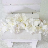 Baptism headband White lily crown Tie back Flower crown paper Flower headband/ flower hair vine